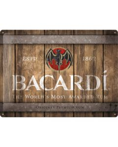 Bacardi Wood Barrel Logo Blechschilder 30x40cm