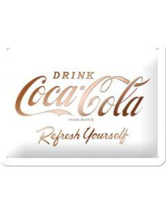 Coca-Cola Logo White Refresh Yourself Blechschilder 15x20cm