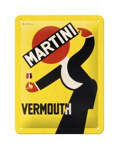 Martini Vermouth Waiter Yellow Blechschilder 15x20cm