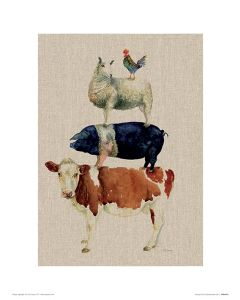 Farmyard Fun Art Print Jane Bannon 30x40cm