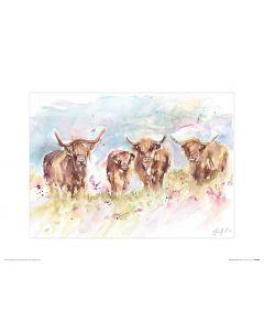 Herde Hochländer Art Print Jennifer Rose 30x40cm