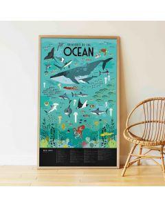 Poppik Tiere aus den Ozeanen Sticker Poster 100x68cm