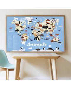 Poppik Tiere der Welt Sticker Poster 100x68cm