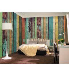 Farbige Holzwand 8-teilige Vlies-Fototapete 366x254cm