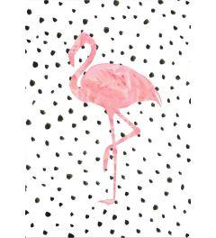 Pink Flamingo on Polka Dots - Peach & Gold