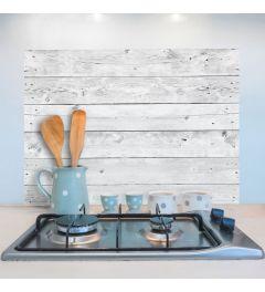 Wandtattoo Holz Weiß/Grau 65x47cm