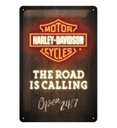 Harley Davidson Road is Calling Neon Blechschilder 20x30cm