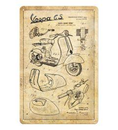 Vespa Parts Sketches Blechschilder 20x30cm