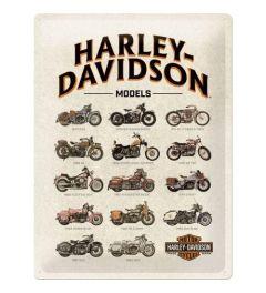 Harley Davidson Model Chart Blechschilder 30x40cm