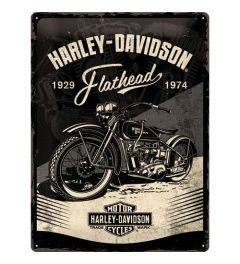 Harley Davidson Flathead Black Blechschilder 30x40cm