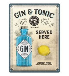 Gin & Tonic Served Here Blechschilder 30x40cm