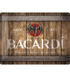 Bacardi Wood Barrel Logo Blechschilder 30x40cm