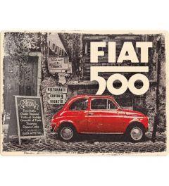 Fiat 500 Red car in the street Blechschilder 30x40cm