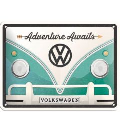 VW Bulli Adventure Awaits Blechschilder 15x20cm