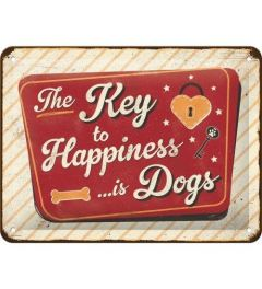 The Key to Happiness is Dogs Blechschilder 15x20cm