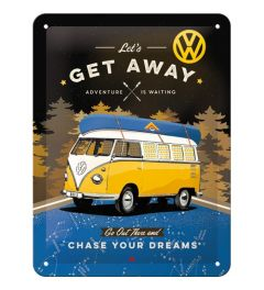 VW Bulli Let's Get Away Night Blechschilder 15x20cm