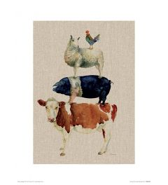 Farmyard Fun Art Print Jane Bannon 30x40cm