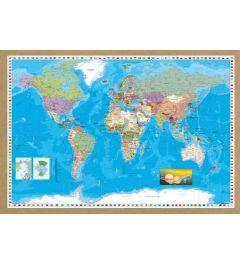 Weltkarte Gerahmte Holz Eiche
