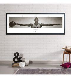 Michael Jordan Wings Poster Gerahmt MDF Schwarz 53x158cm