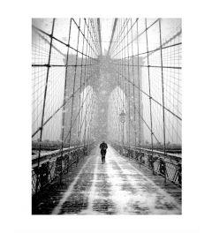 Blizzard On Brooklyn Bridge Art Print