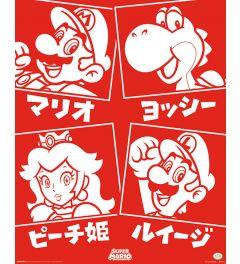 Super Mario Japanische Tekens Poster 40x50cm