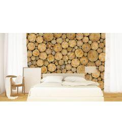Holzstapel Rund 4-teilige Fototapete 368x254cm
