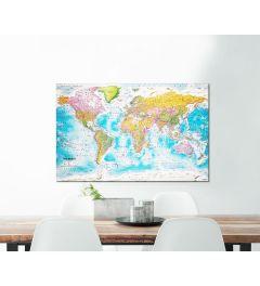 Weltkarte Leinwand Pinnwand 60x90cm