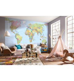 Weltkarte 4-teilige Vlies Fototapete 368x248cm