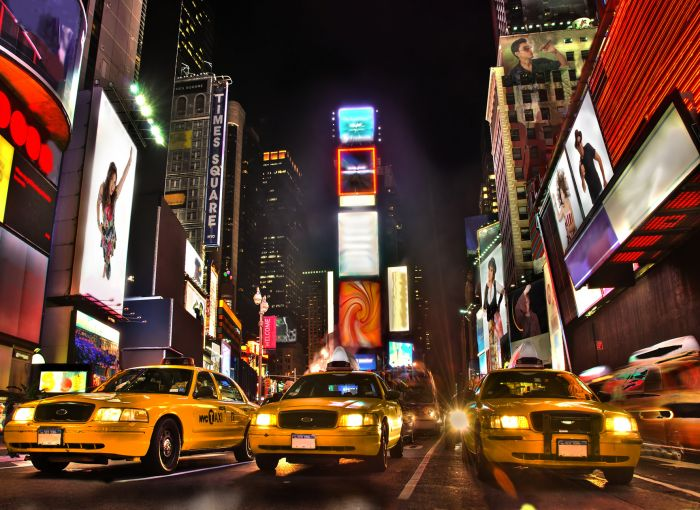 Yellow Cabs at Times Square
